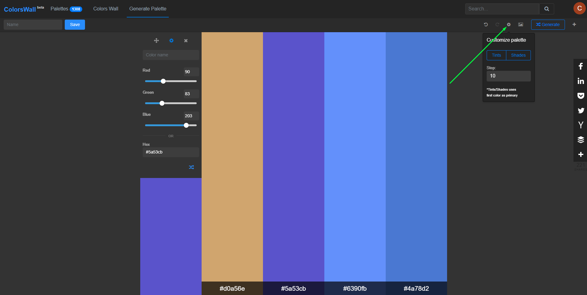 Customize palette