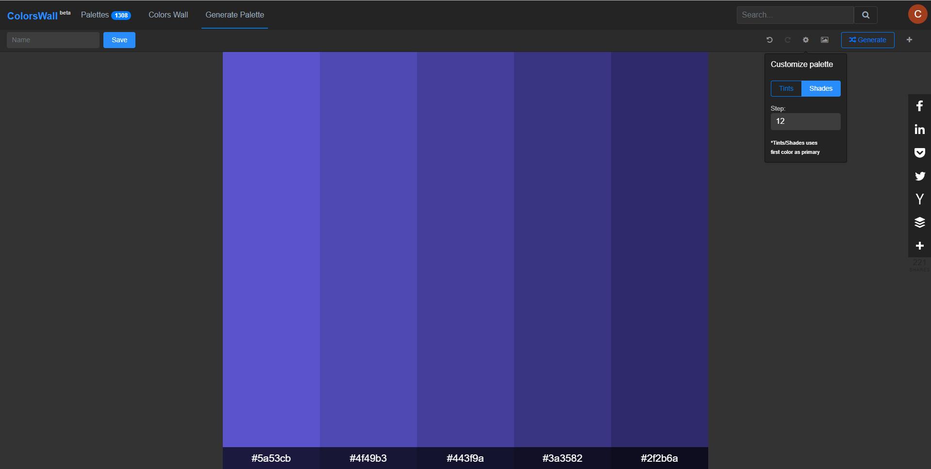 Blue shades palette