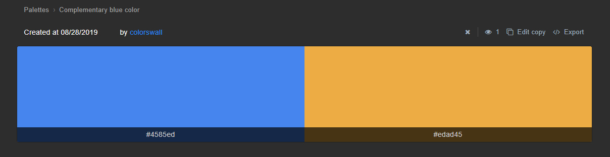 Complementary color palette