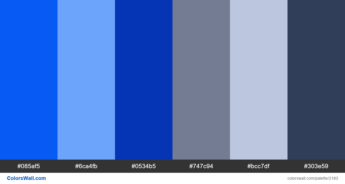 Blue colors palette 2018 - #2183