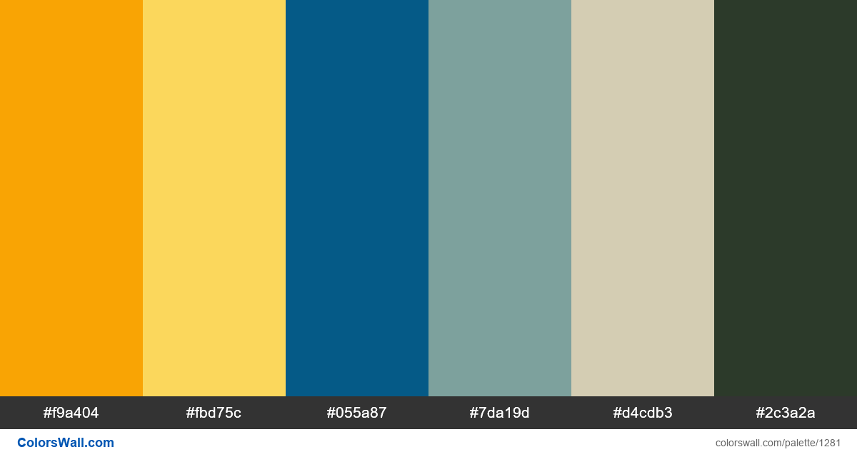 Blue sky and yellow flowers color palette - #1281
