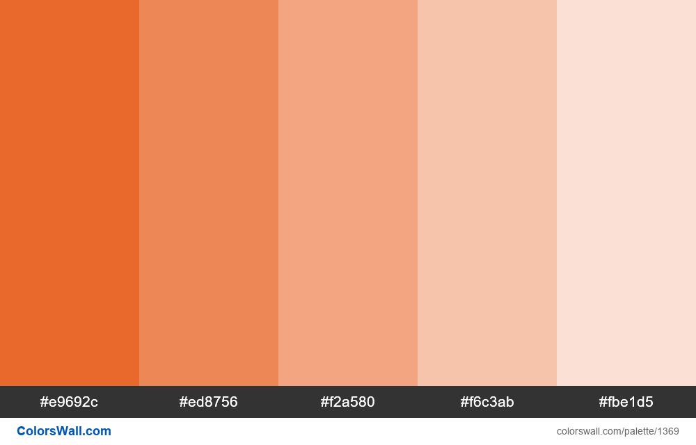 Deep carrot orange color 5 tints - #1369