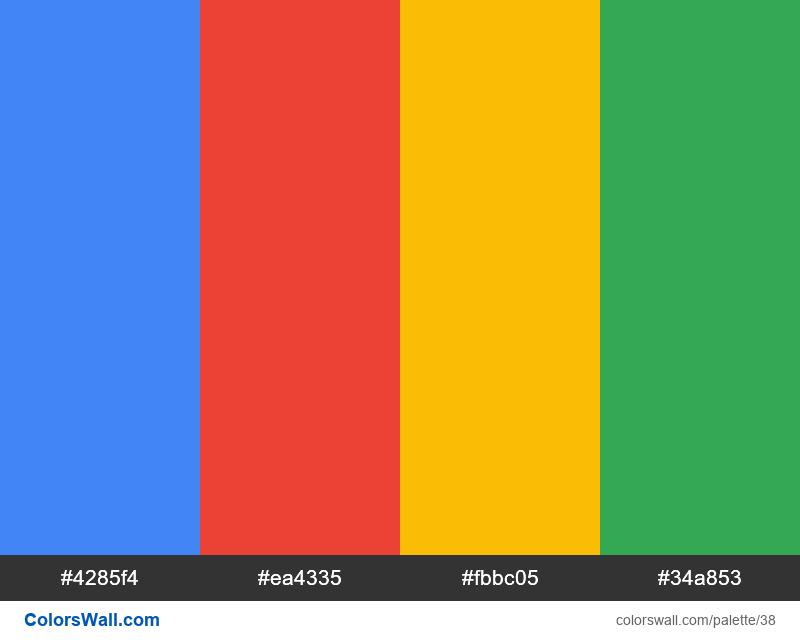 Google Logo colors palette - #38