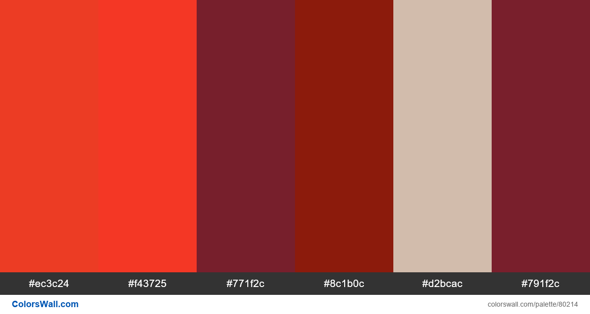 Graphic design set type red palette - #80214
