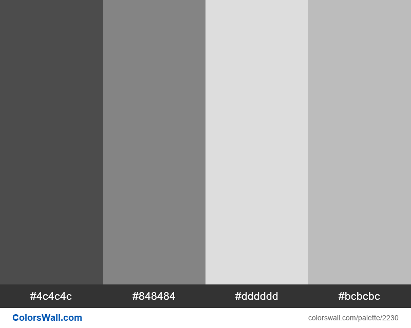 Grayscale colors palette - #2230
