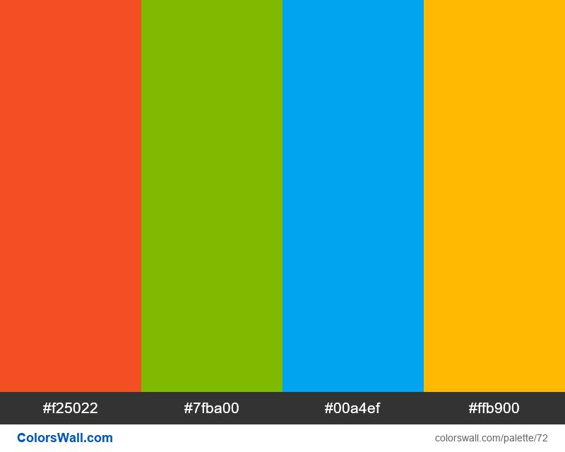 Microsoft logo colors palette - #72