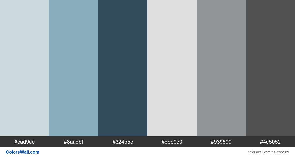 Oracle Secondary colors palette - #283
