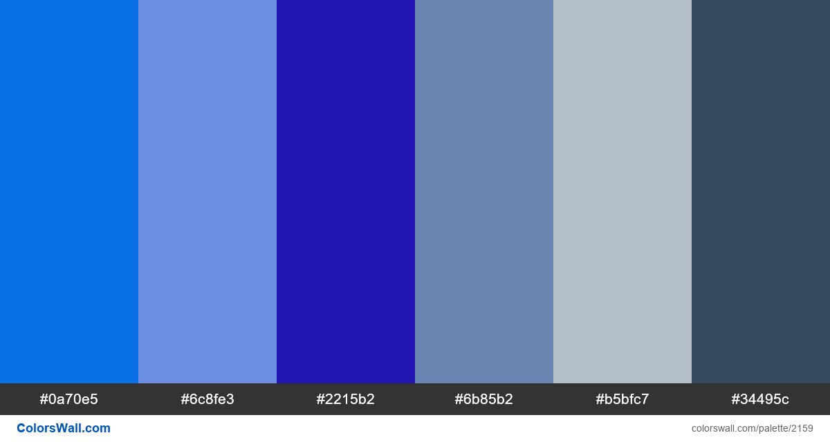 Popular blue colors for your website in 2018 - #2159