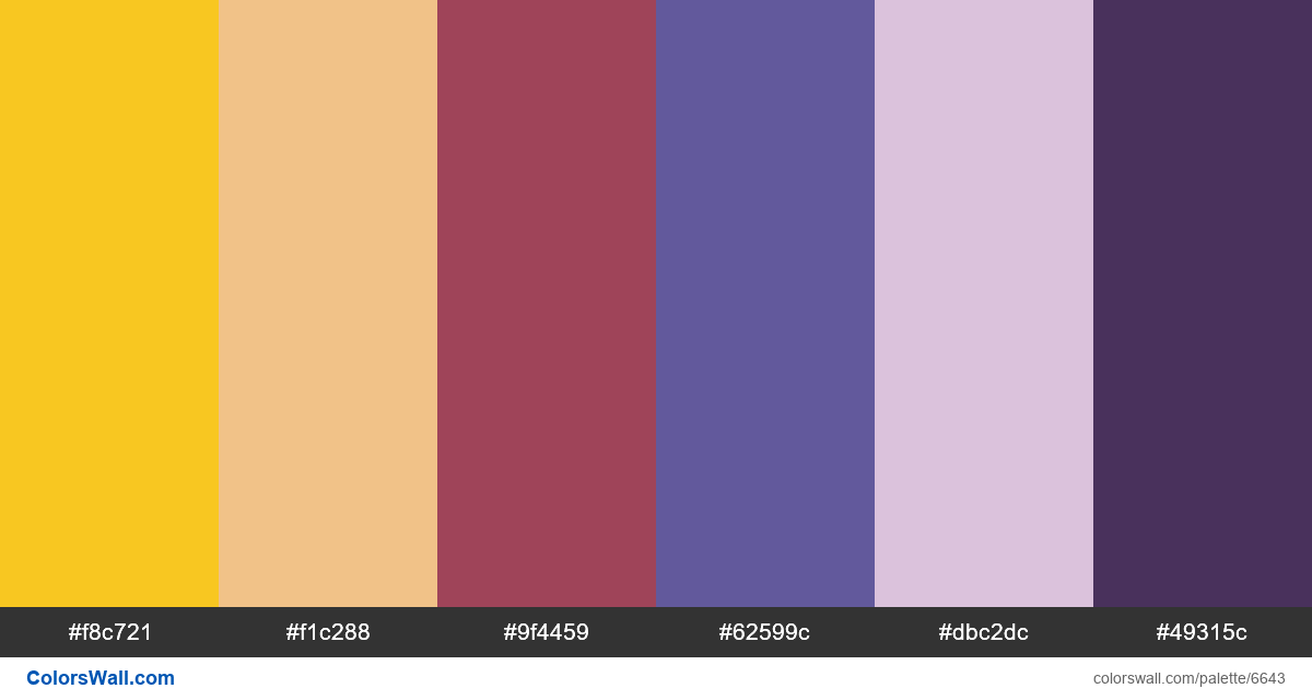 Procress concept website colors palette - #6643
