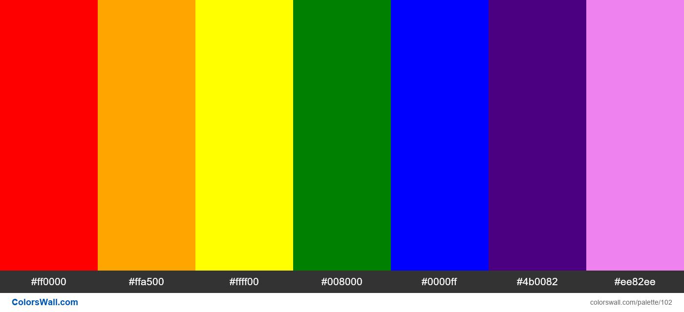 Rainbow Colors Palette Hex Rgb Codes