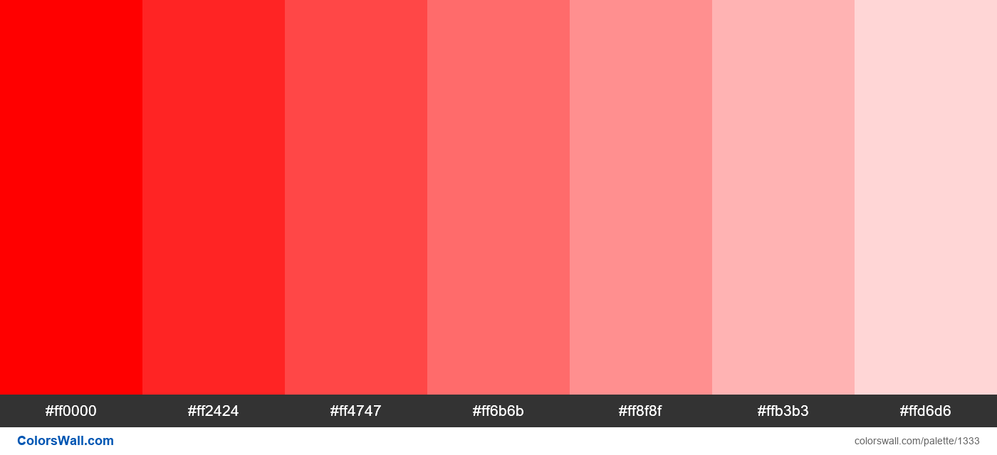 Red tints 7 colors - #1333