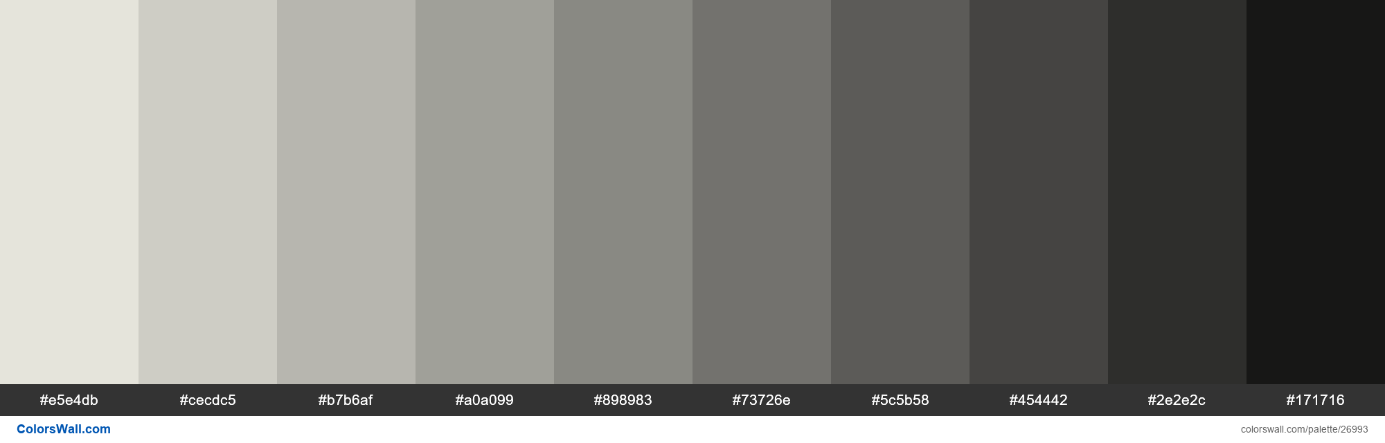 Shades of Black White color #E5E4DB hex - #26993