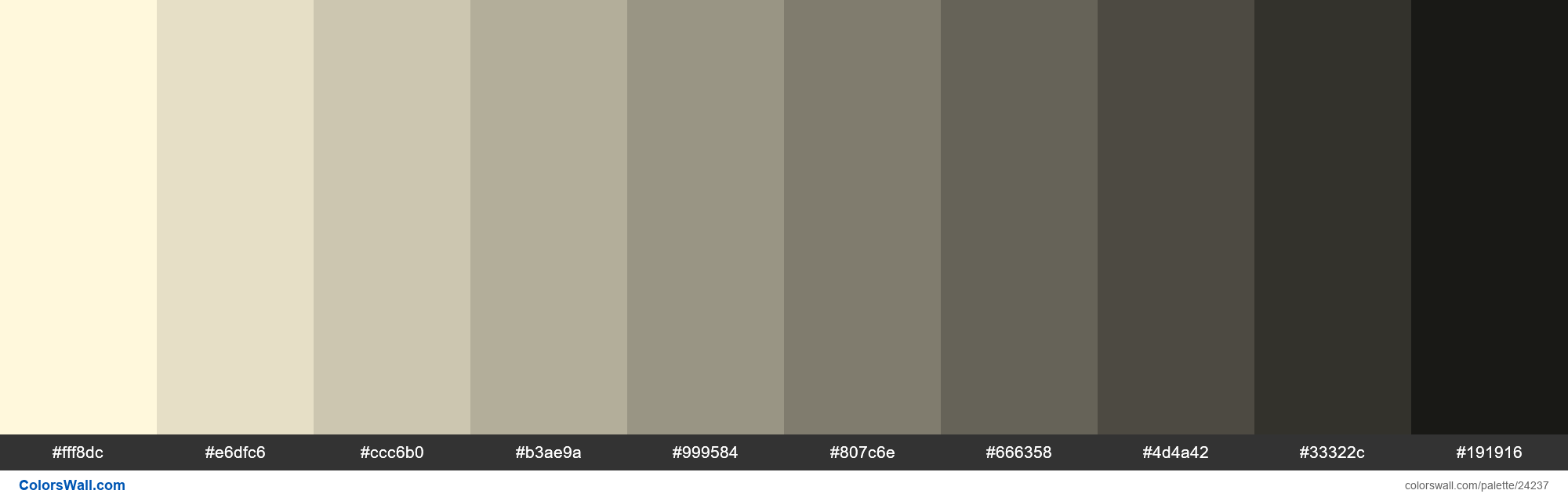 Shades of Cornsilk #FFF8DC hex color - #24237
