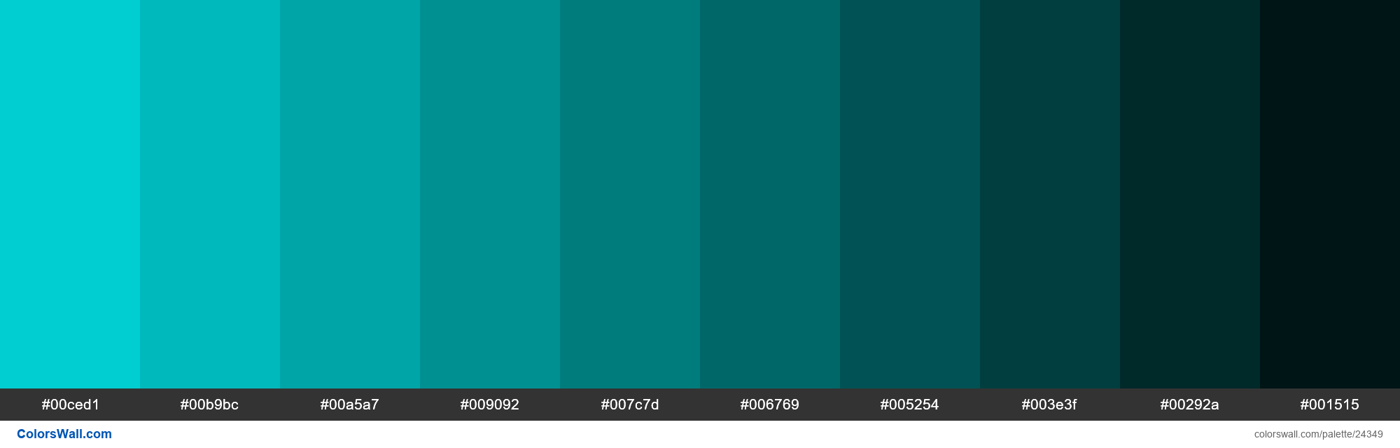 Shades of Dark Turquoise #00CED1 hex color - #24349