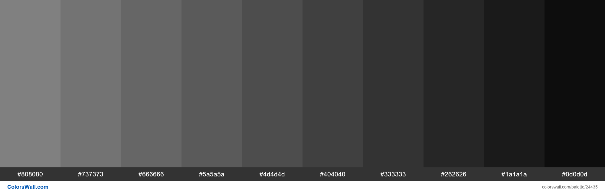 Shades of Gray #808080 hex color - #24435