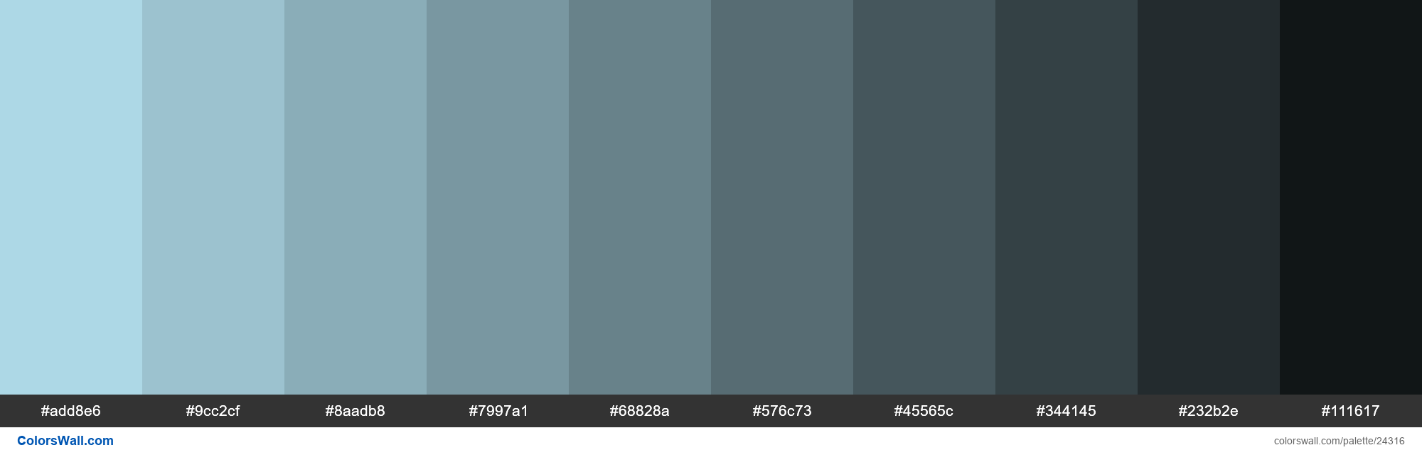 Shades of Light Blue #ADD8E6 hex color - #24316