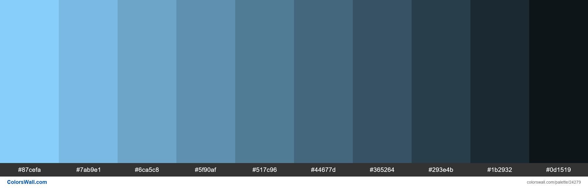 Shades of Light Sky Blue #87CEFA hex color - #24279
