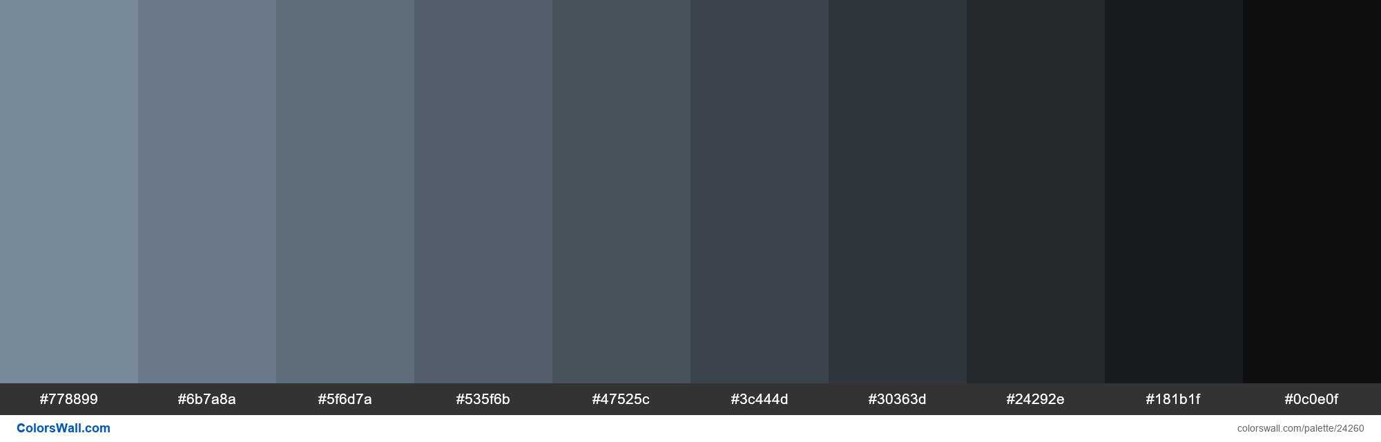Shades of Light Slate Grey #778899 hex color - #24260