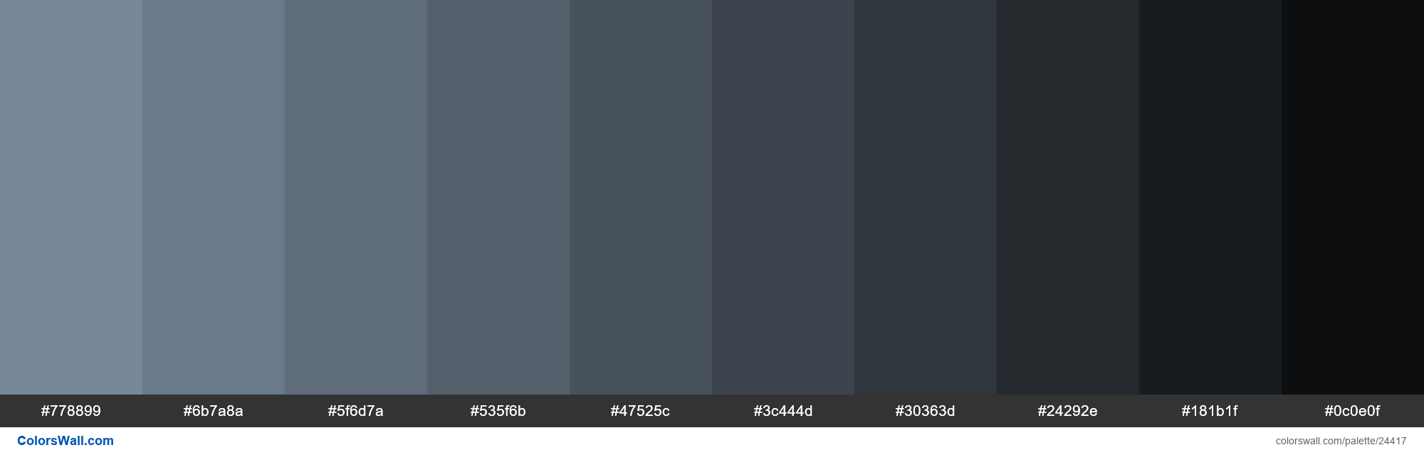 Shades of Light Slate Grey #778899 hex color - #24417