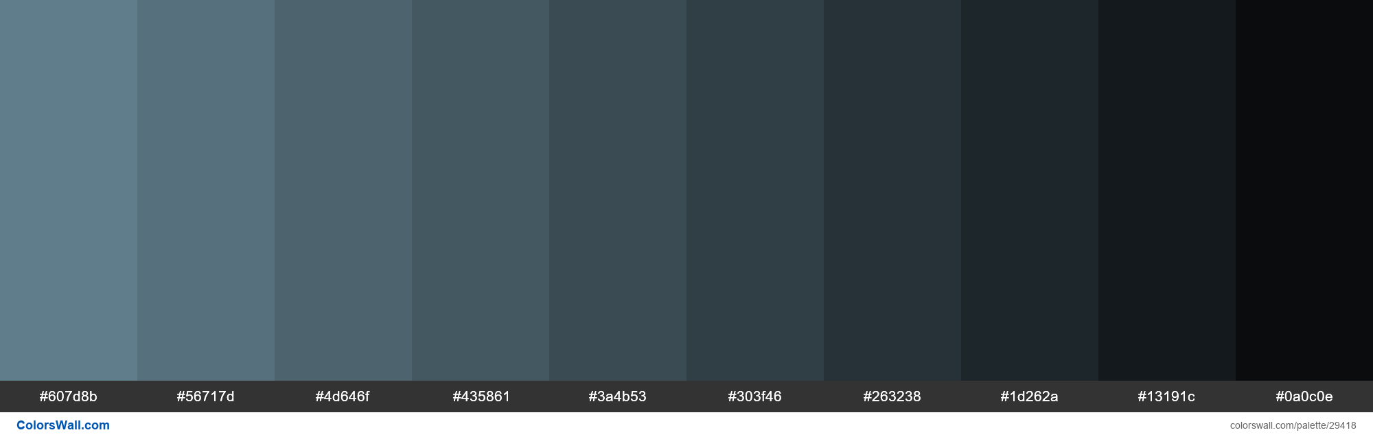Shades Of Material Design Blue Gray Color 607d8b Hex Hex Rgb Codes