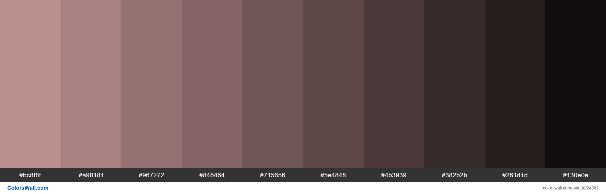 Shades of Rosy Brown #BC8F8F hex color - #24382