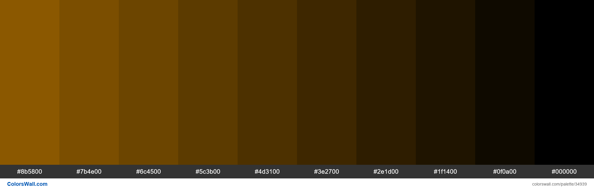 Shades XKCD Color raw sienna #9a6200 hex - #34939