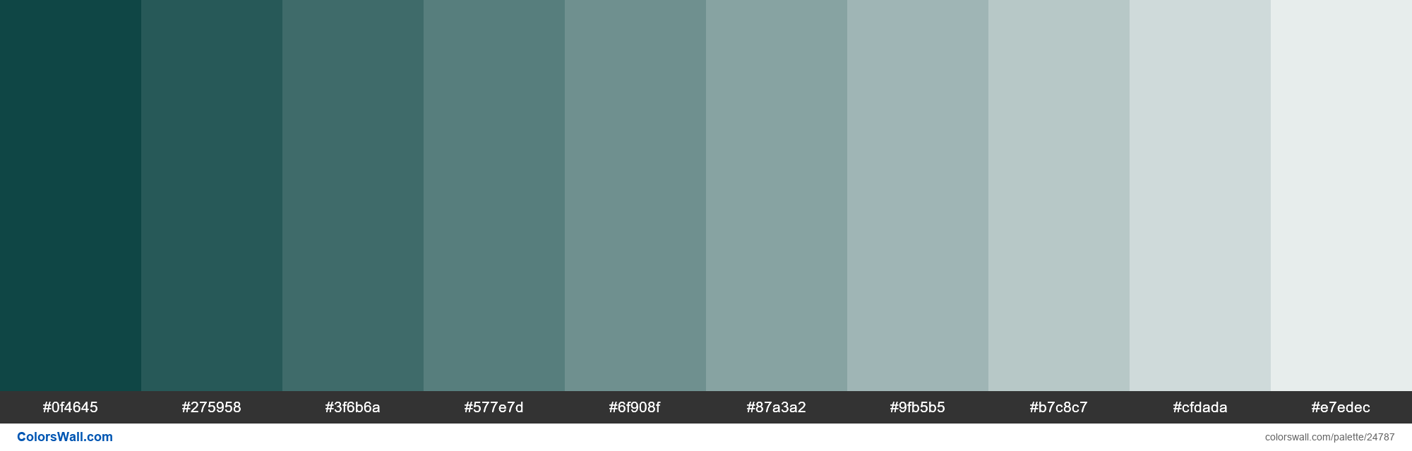 Tints of Cyprus #0F4645 hex color - #24787