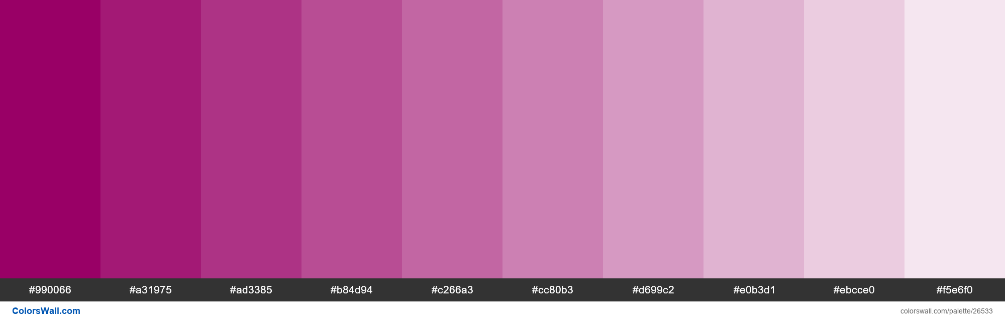 Tints of Eggplant color #990066 hex - #26533