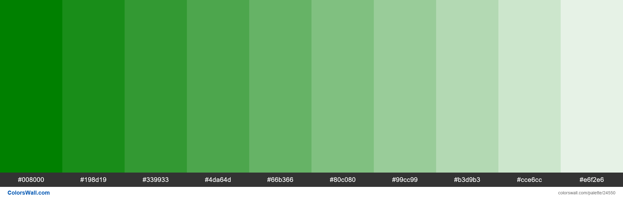 Tints of Green #008000 hex color - #24550
