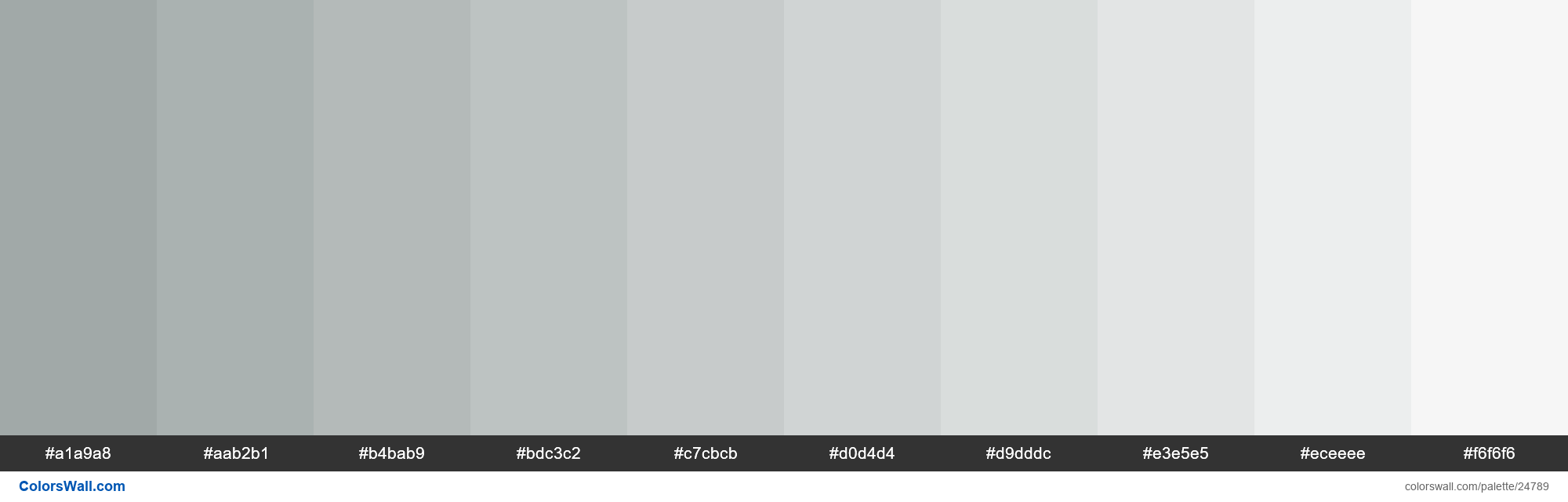 Tints of Hit Grey color #A1A9A8 hex - #24789