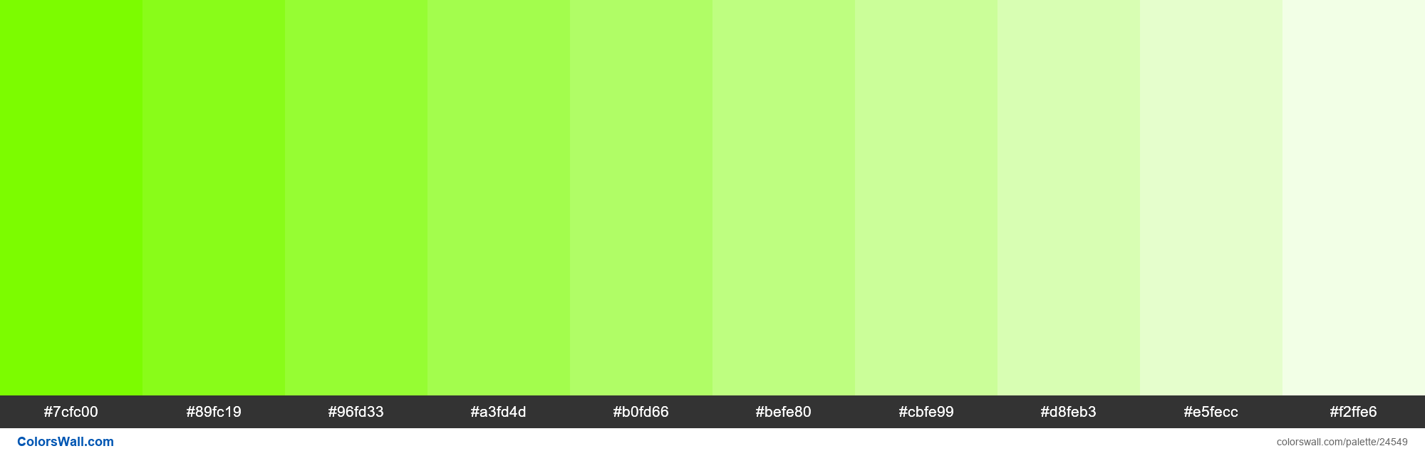 Tints of Lawn Green #7CFC00 hex color - #24549