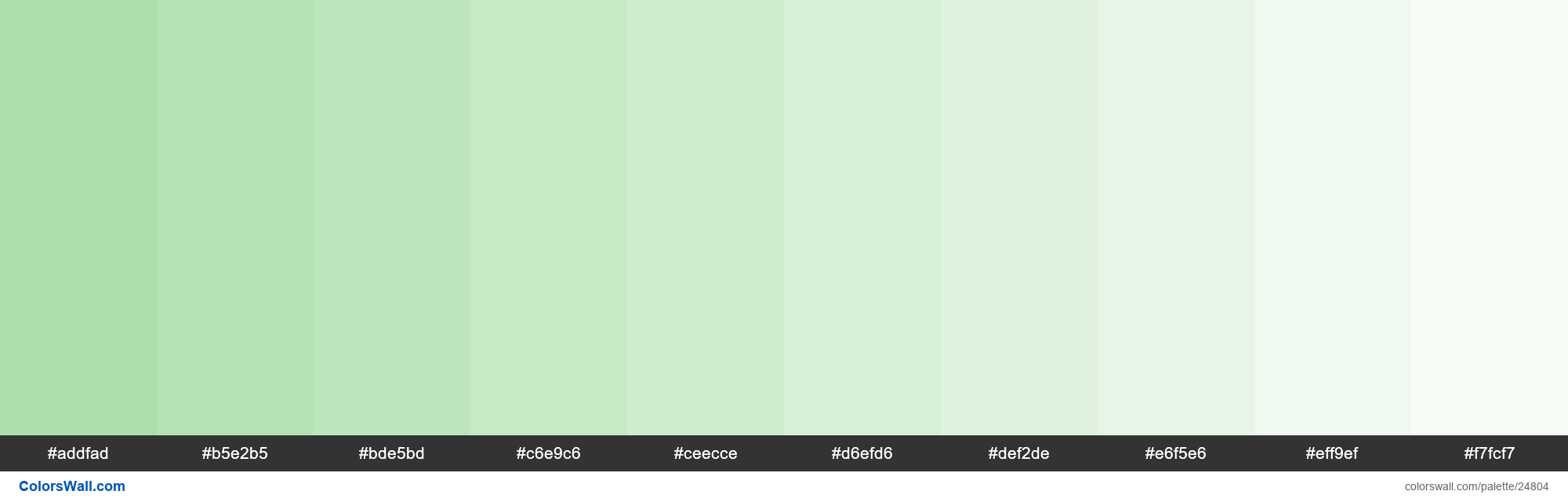 Tints of Moss Green color #ADDFAD hex - #24804
