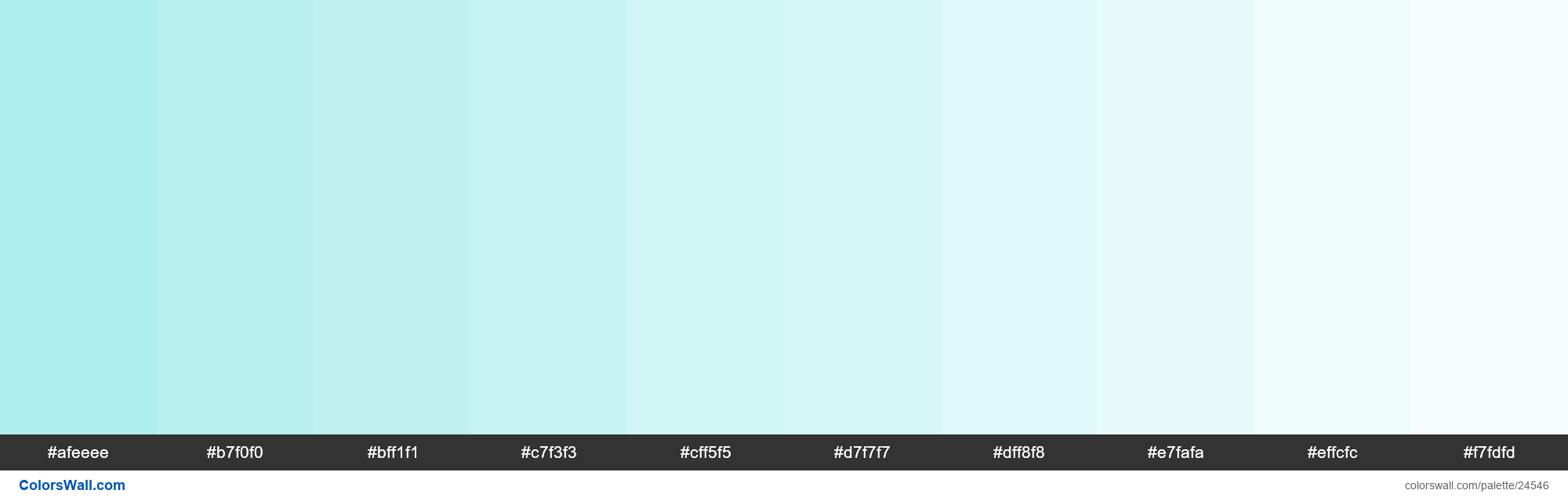 Tints of Pale Turquoise #AFEEEE hex color - #24546
