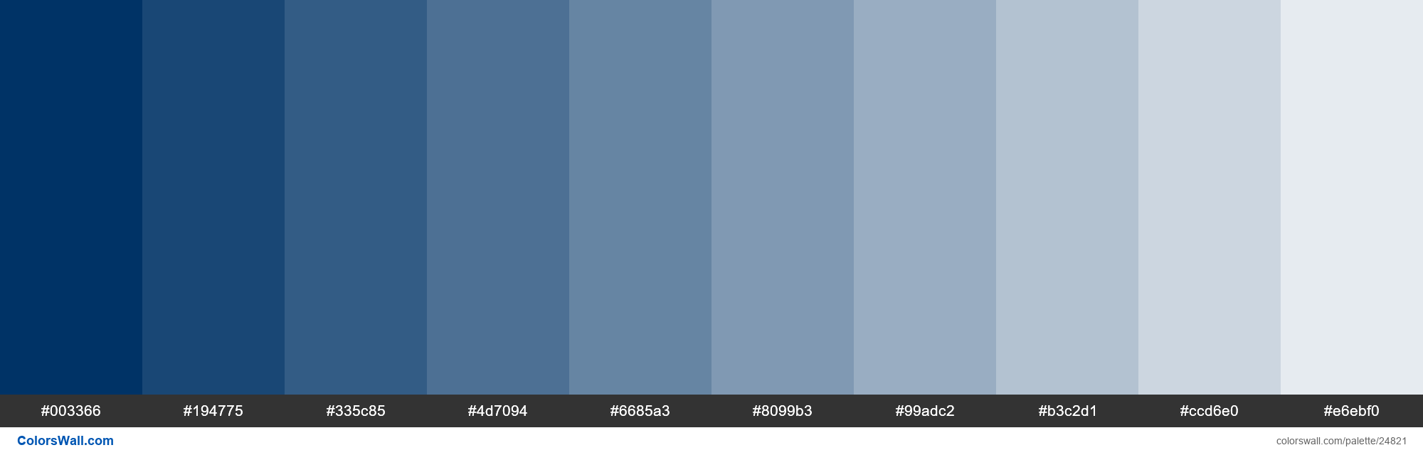 Tints of Prussian Blue color #003366 hex - #24821