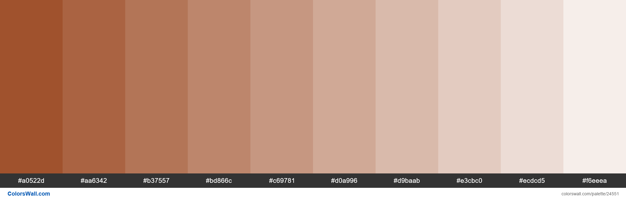 Tints of Sienna #A0522D hex color - #24551