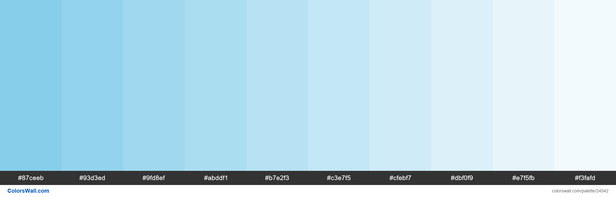 Tints of Sky Blue #87CEEB hex color - #24542