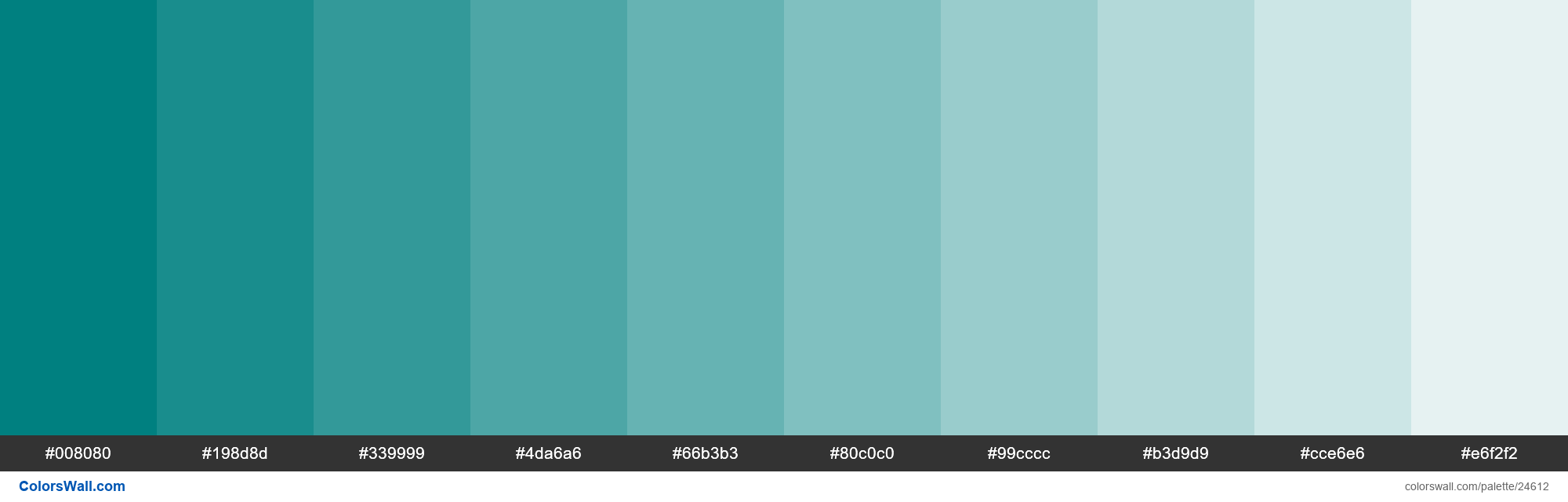 Tints of Teal #008080 hex color - #24612