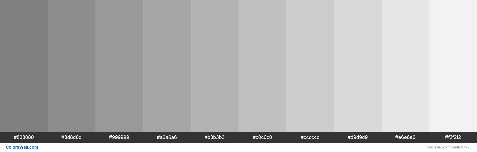 Tints of Web Safe Color Gray #808080 hex - #24785