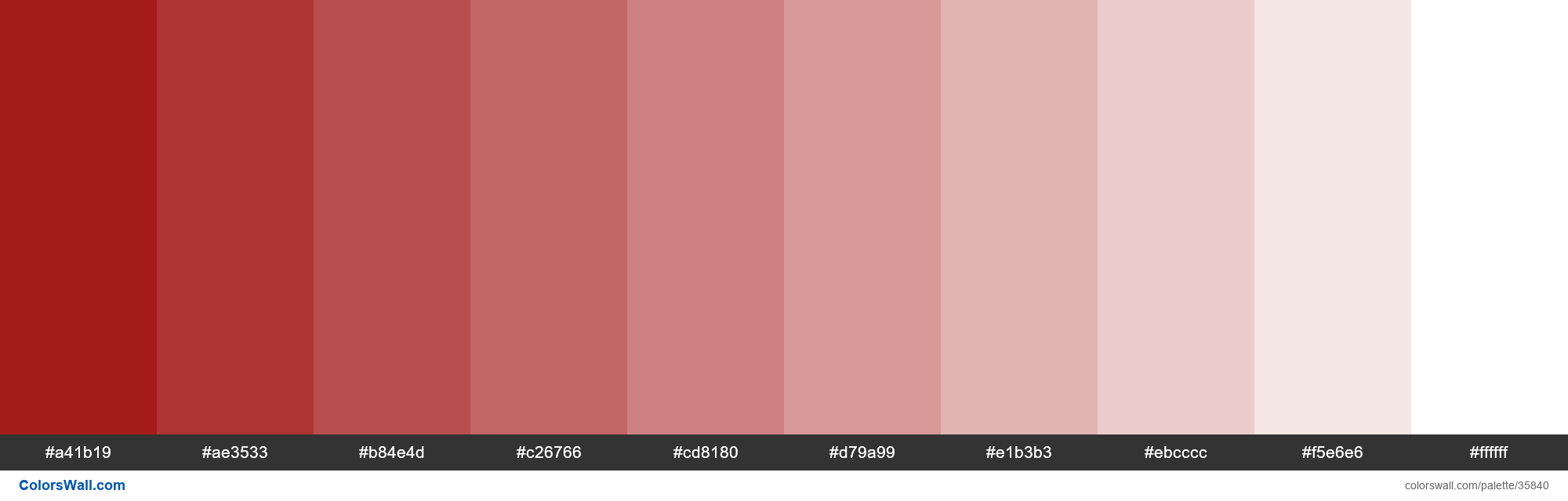 Tints XKCD Color deep red #9a0200 hex - #35840