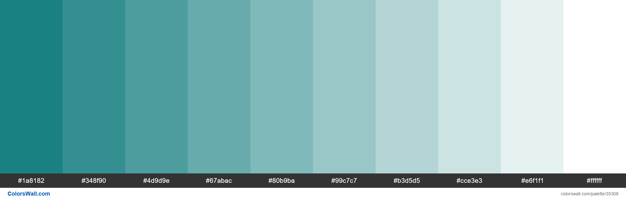 Tints XKCD Color deep turquoise #017374 hex - #35308