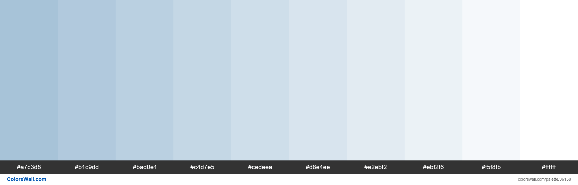 Tints XKCD Color light grey blue #9dbcd4 hex - #36158