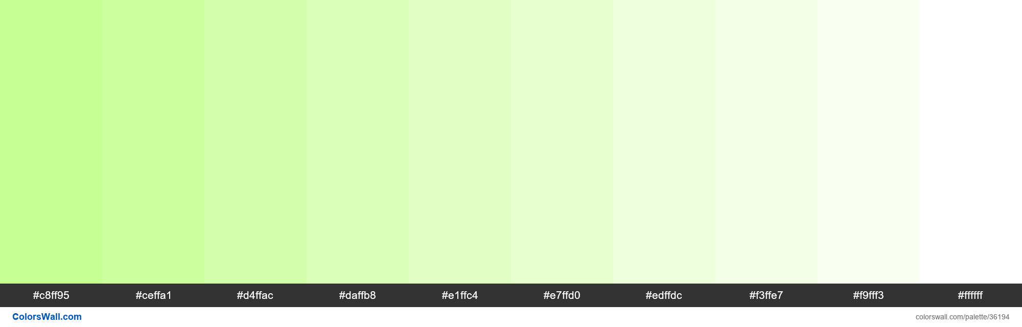Tints XKCD Color light yellowish green #c2ff89 hex - #36194