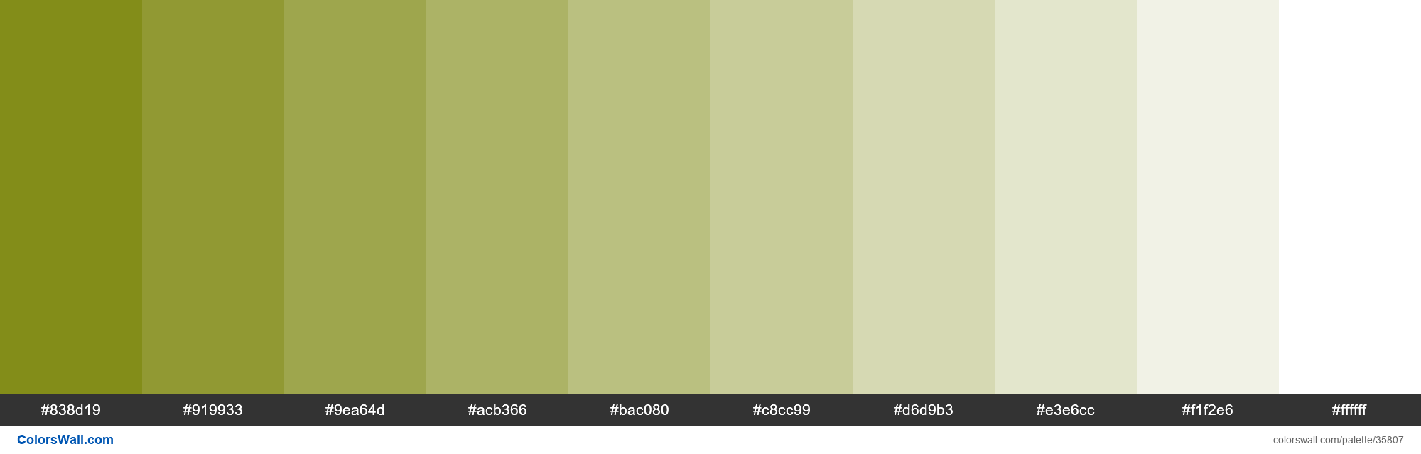 Tints XKCD Color shit green #758000 hex - #35807