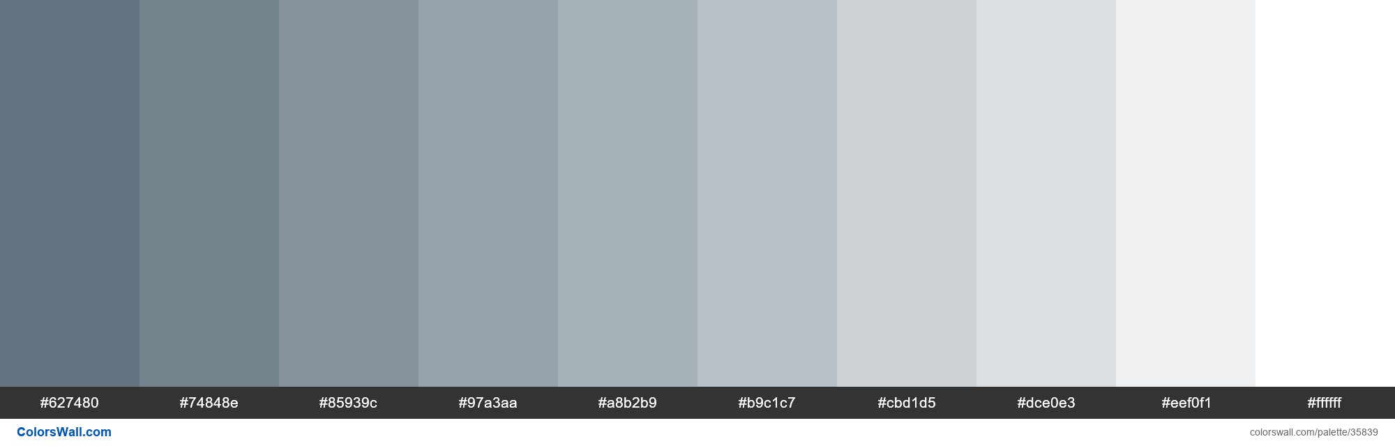 Tints XKCD Color slate #516572 hex - #35839
