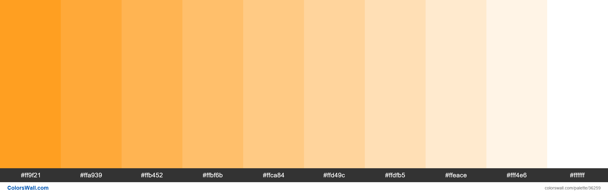 Tints XKCD Color tangerine #ff9408 hex - #36259