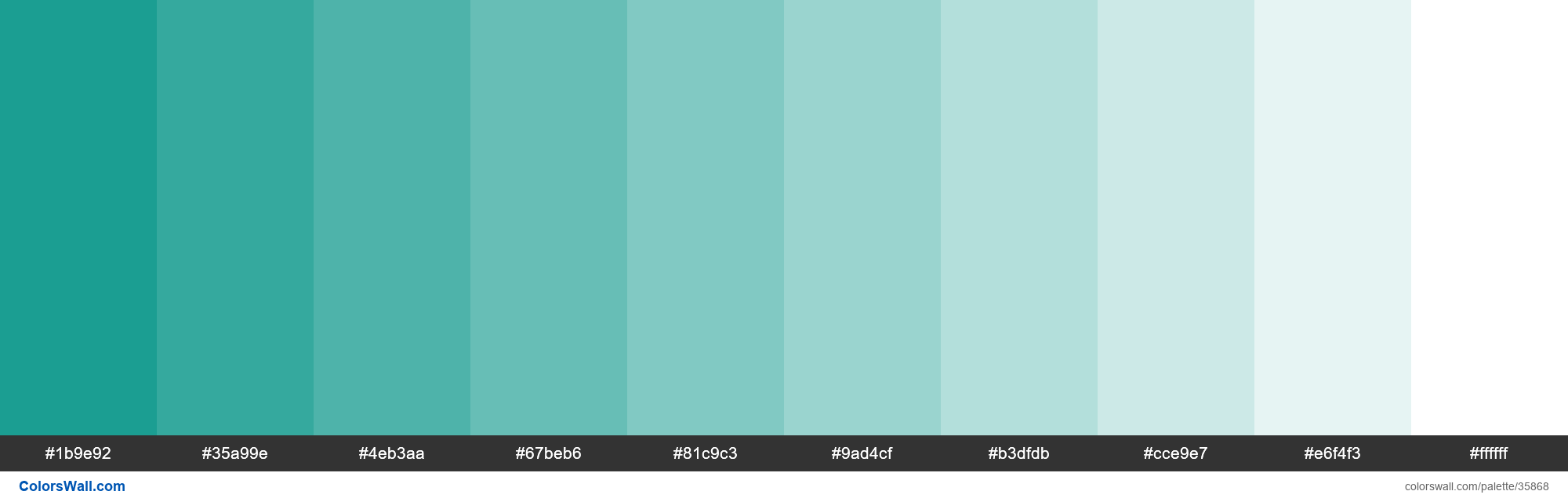 Tints XKCD Color teal #029386 hex - #35868