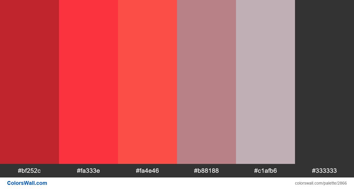 Website design red colors palette - #2866