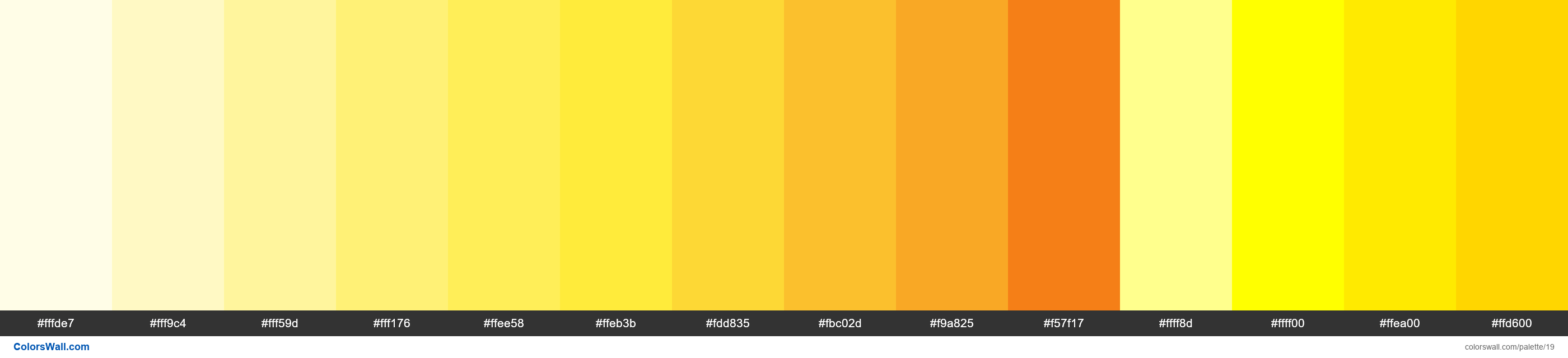 Yellow palette Materialize CSS - #19