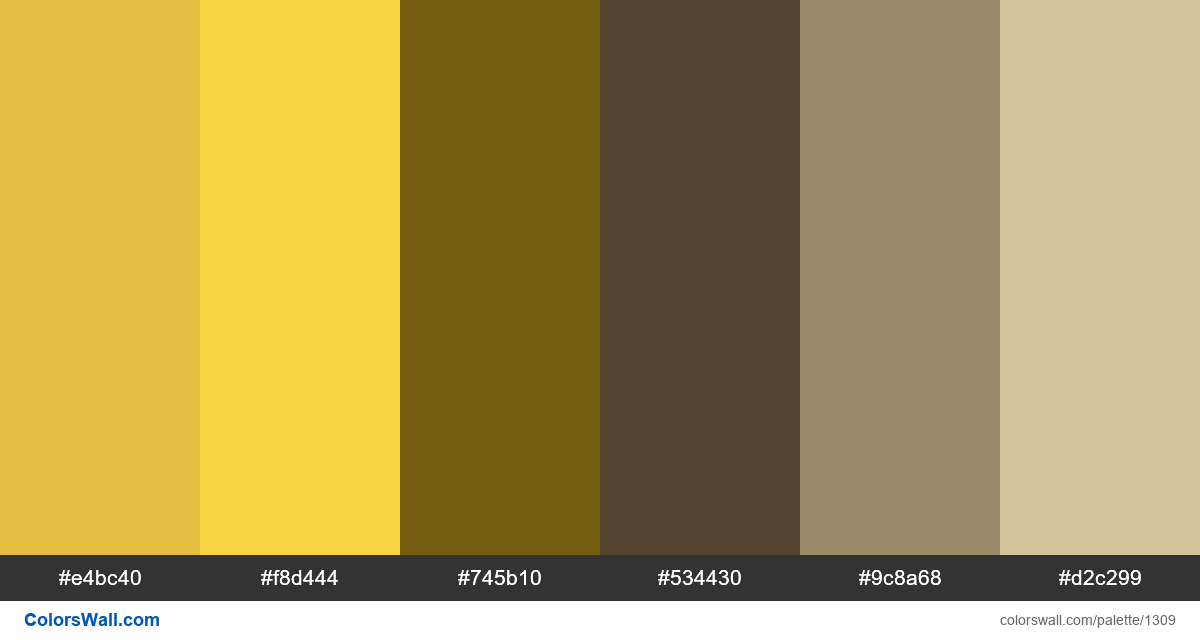 Yellow room colors palette - #1309